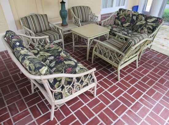 """Rattan patio set  (2) sofas (3) arm chairs (2) lamp table(2) lamp table 19"""" x 19""""-  light green wit"""