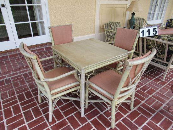 """rattan dining set table with 4 chairs  (2) arm chairs and (2) straight chairs 32 x 32"""""""" table top Th"""