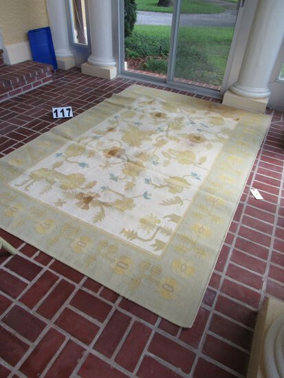 """patio rug cream with gold and blue design 72"""" x 110"""" (some fade staining see photo)"""
