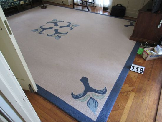 Woolmark hand tufted 100% wool rug  11' x 14' beige with blue trim floral design.  Very clean and ni