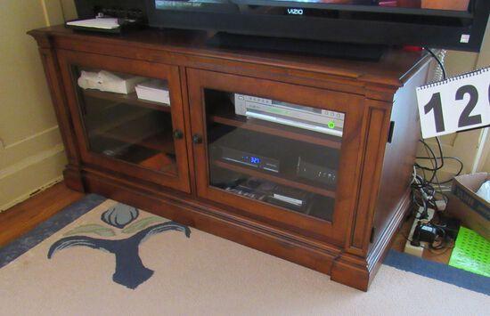 "TV base cabinet with glass doors walnut finish  53"" x 22"" x 24"" h"