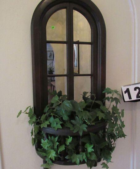 """window mirror with artificial greenery walnut finish frame 16"""" x 48"""""""