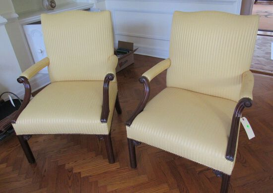 cream colored upholstered walnut finish  wood frane arm chairs