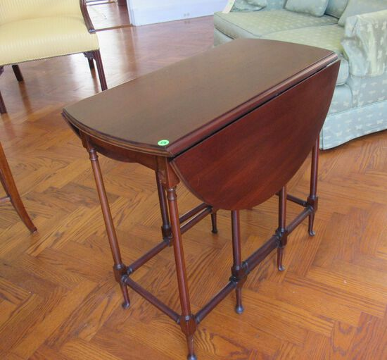 """drop leaf table 23"""" x 28"""" top spindle legs (one leg on rear side broken but leg is with it and repar"""