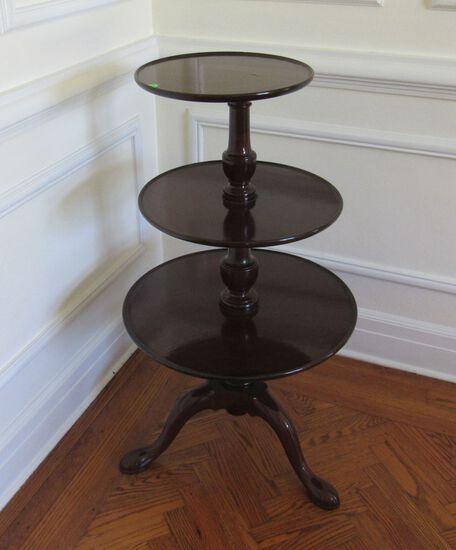"""three tiered mahogany finish table 24"""" diameter x 40"""" high"""