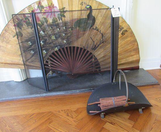fireplace screen and log basket