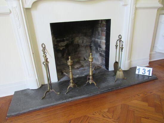 fireplace andirons and poker set