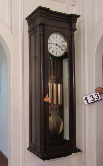 """wall mounted grandfather clock made W Germany 21"""" w x 12"""" d x 68"""" h.  Works great chimes and keeps t"""