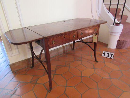 "drop leaf inlaid walnut finish table with 2 drawers 57"" x 23"" deep 27"" h"