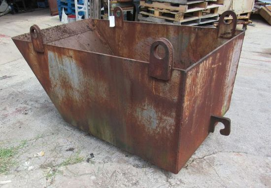 """skiff material hopper with 4 pickup points 114"""" L x 60"""" w x 43""""h  made of 3/8"""" and 1/2"""" steel plate"""