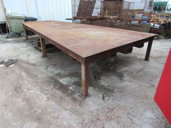 """welding table trapezoid shape 17' long x 114"""" w (one end) x 61"""" w (other end) x 32"""" H   top 1/4"""" pla"""