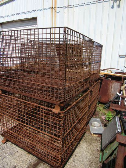 """stackable steel material wire baskets 38"""" x 46"""" x 30"""" h"""