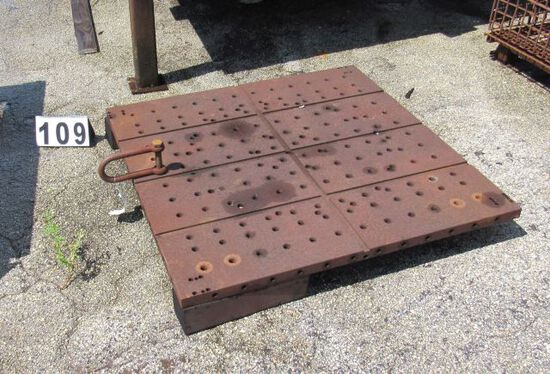 """drilled plate 40"""" x 40"""" x 1"""" thick with lift loop attached"""