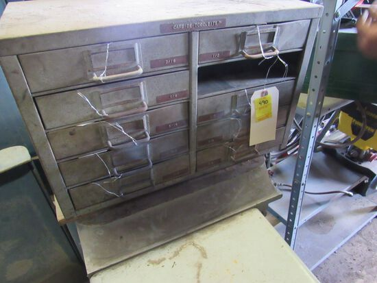 steel cabinet for milling bits (no contents missing one drawer)