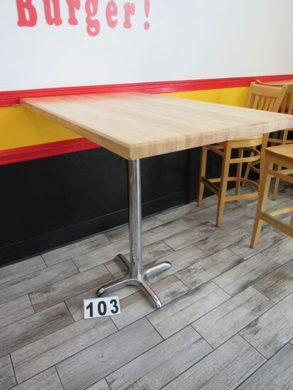 """high top wooden tables w/ chrome bases 30"""" W x 48"""" L x 43"""" H"""