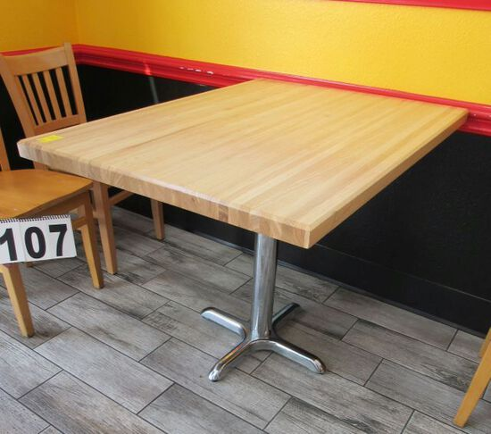 """wooden tables w/ chrome bases 30"""" W x 42"""" L"""