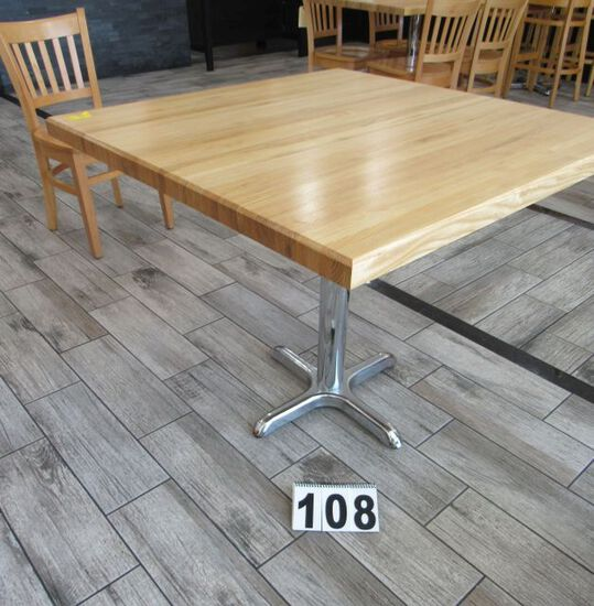 """wooden tables w/ chrome bases 36"""" x 36"""""""