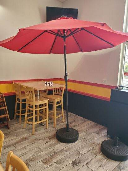 red light up umbrella w/ weighted base
