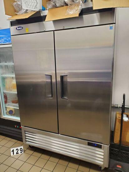 "Atosa 2 door ss freezer on casters 54"" W x 31"" D x 54"" H"