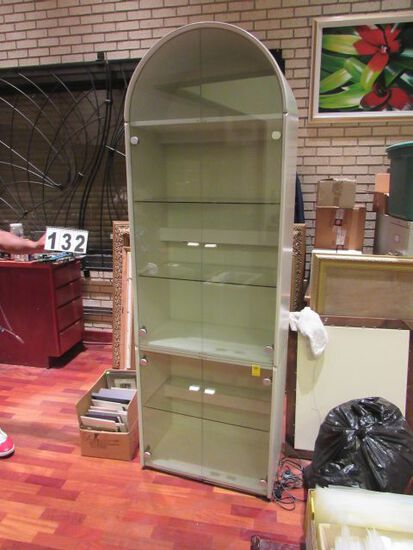 "lighted glass display cabinet  white with glass front  28"" w x 283"" h x 16"" d"