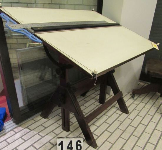 "wood fully adjustable drafting table with top dimensions 42"" w x 31"" d"