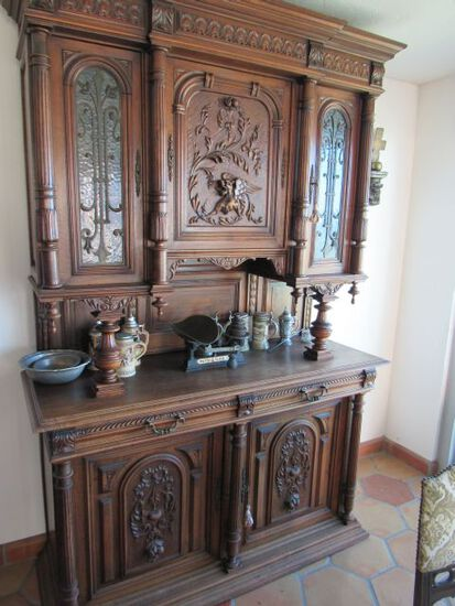 dining room hutch ornate carved antique European