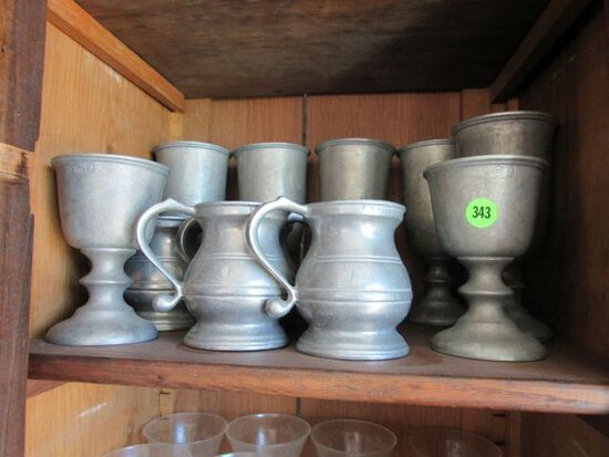 pewter cups, tumblers and mugs, 12 pieces