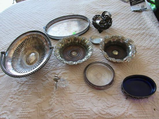 mixed silver-plated serving ware, 6 pieces