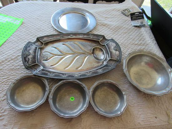 mixed pewter serving bowls, platters
