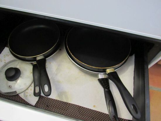 mixed cookware, pots and pans, frying pans