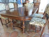 antique dining table with 6 chairs European