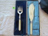 silver plated carving knife and serving fork set  in case