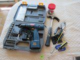 mixed tools including Ryobi battery powered drill