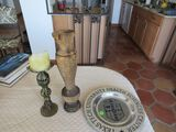 pewter Texas Tech plate, 3 candlesticks (matched pair wood)