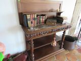 European marble topped ornate carved sideboard with lined drawers, 45W X 19d X 52 H