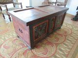 European antique locking blanket chest with tapestry inlay, 52W X 26D x 24H
