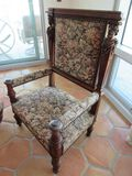 floral pattern European wood-framed ornate chairs, walnut finished, 29W X 21D X 44H