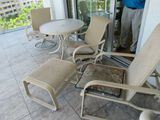 patio set aluminum frame dining table and 2 chairs with chair and ottoman