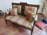 ornate European walnut framed upholstered bench, 56 W X 24 D X 40 H