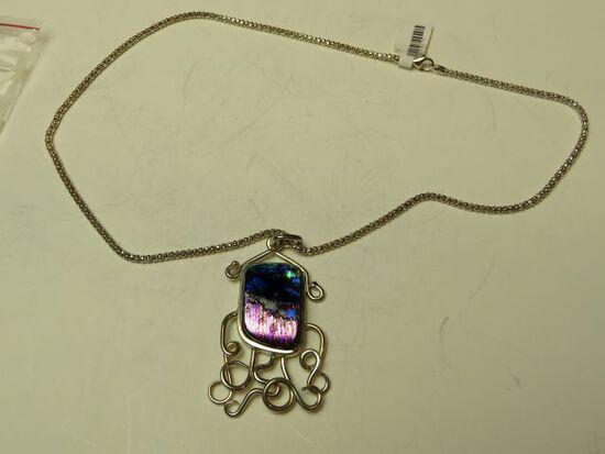 "Sterling framed dichroic pendant on 18"" sterling chain"