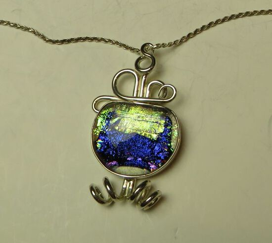"""Sterling curls w/blue dichroic glass on 24"""" sterling chain"""