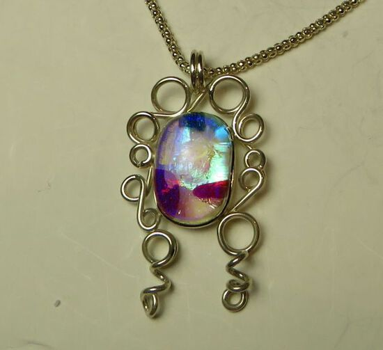 """Sterling girl w/curls & dichroic glass on 16"""" sterling chain"""