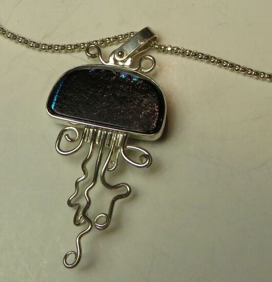 """Sterling & dichroic squid on 18"""" sterling chain"""