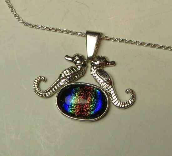 """Sterling seahorses leaning - dichroic glass on 18"""" sterling chain"""