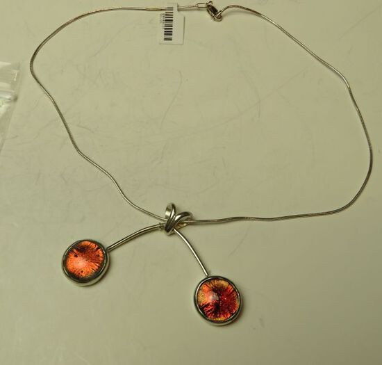 """Sterling dichroic balancing bubbles on 16"""" sterling chain"""