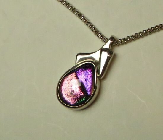 """Dichroic glass framed in sterling on 20"""" sterling chain"""