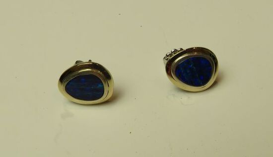 Sterling & 18K bezel blue opal post earrings