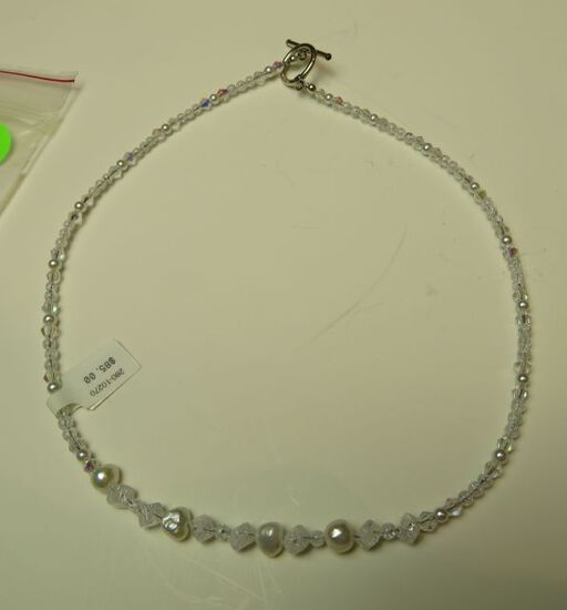 """Crystal & fresh water pearl 16"""" necklace w/sterling toggle clasp"""