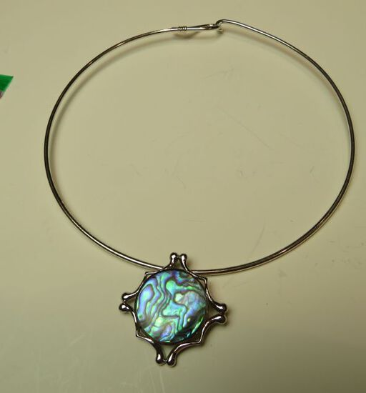 Abalone on sterling slider w/silver coated neck wire
