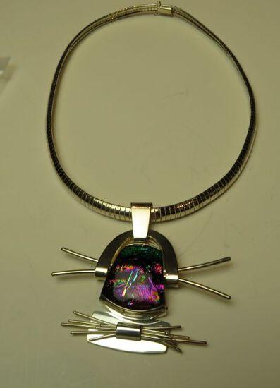 "Sterling 18"" omega  - 5mm wide - w/dichroic glass & sterling Cat Whisker Pendant"